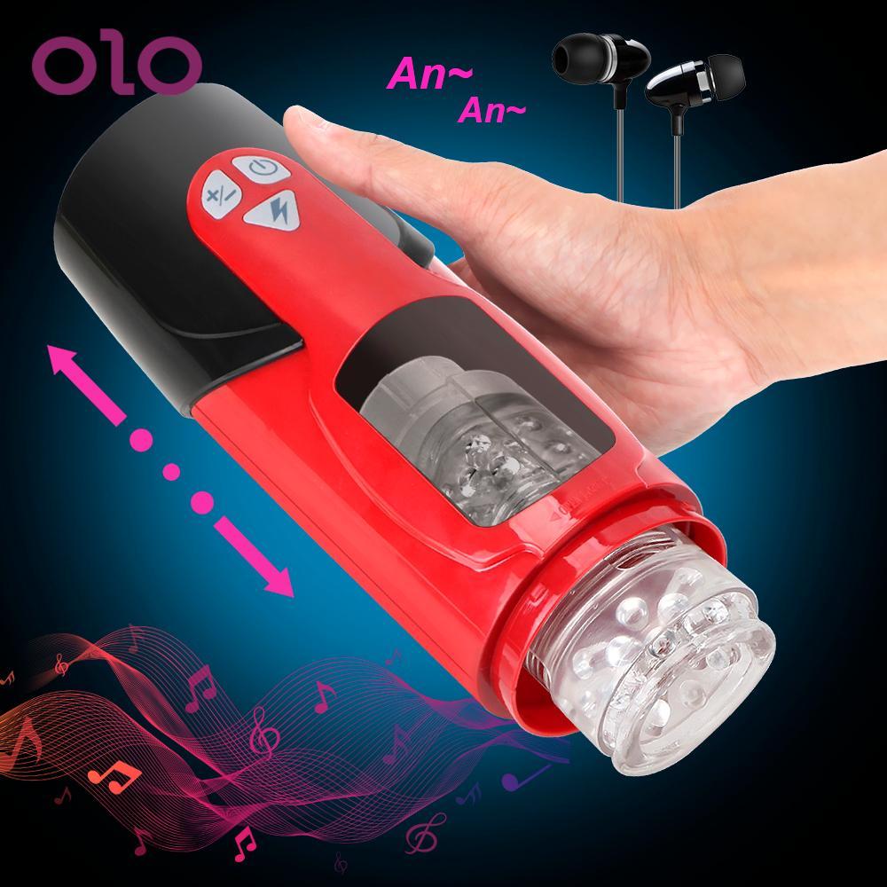 OLO-جهاز استمناء للرجال ، لعبة جنسية ذات 7 أوضاع ، لعبة جنسية ، صوت ، دوران تلسكوبي تلقائي
