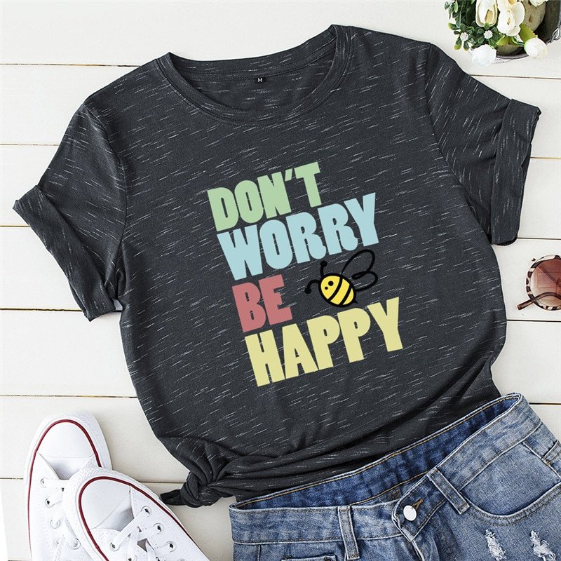 Plus Size S-5XL Lovely Bee Happy Print Women T-Shirt 100%Cotton Women Shirts O Neck Short Sleeve Tops Summer T Shirt Pink TShirt
