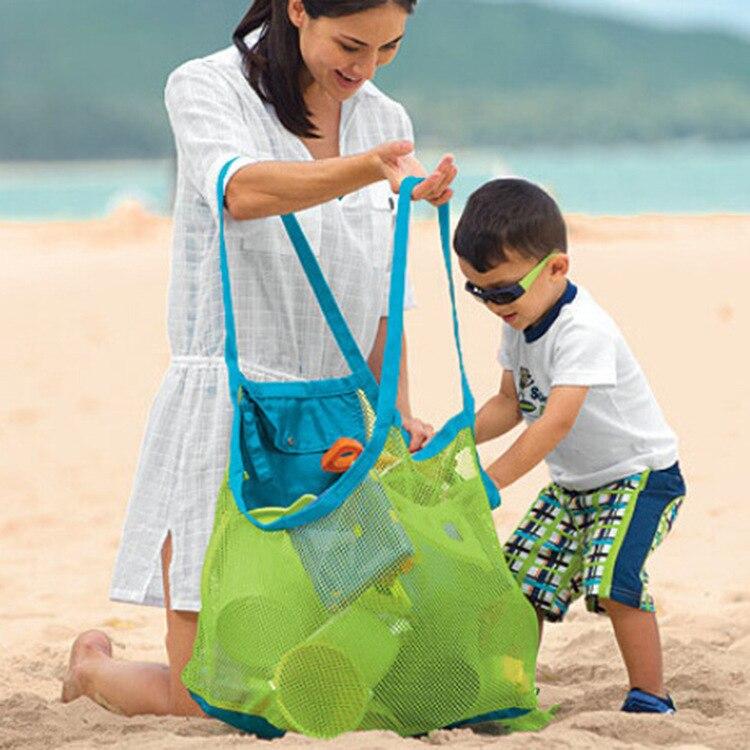 Sable loin en plein air sac de plage pour enfants jouets sac de rangement rapide sac de filet de rangement grand organisateur de sac en filet