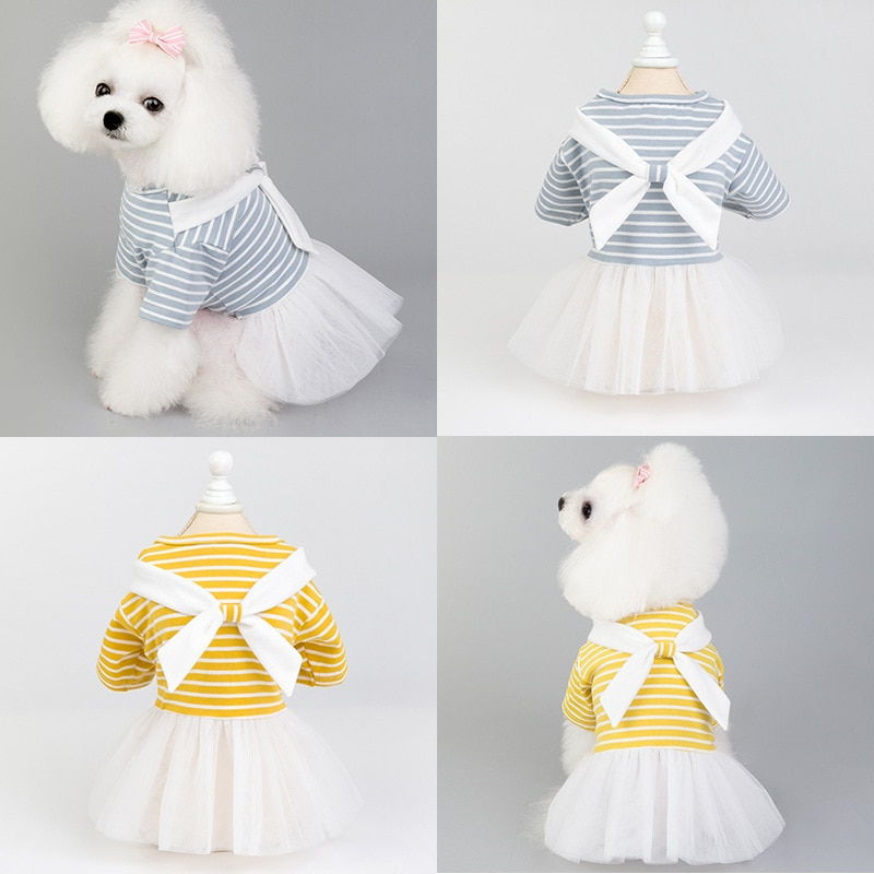 Puppy Dress Dog Dress Girl Dog Clothes Pet Skirt Spring Summer Dress Bow Yarn Skirt Teddy Clothes Small Dog Striped Skirt
