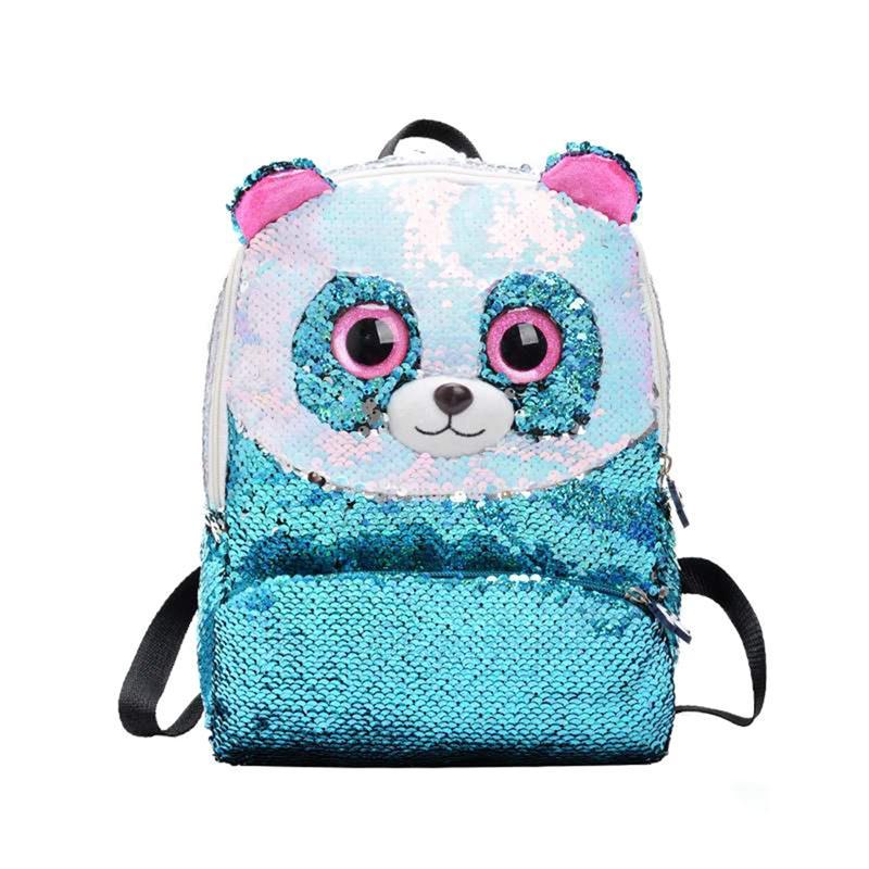 Bolso de hombro creativo de Panda elegante lentejuelas Mini mochila de viaje bolsa de almacenamiento para niños niñas (azul cielo)
