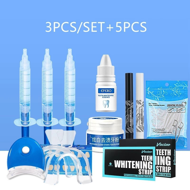 Teeth Whitening Stick Dental Floss Pen Peroxide Powder Gel Kit 8PCS/SET