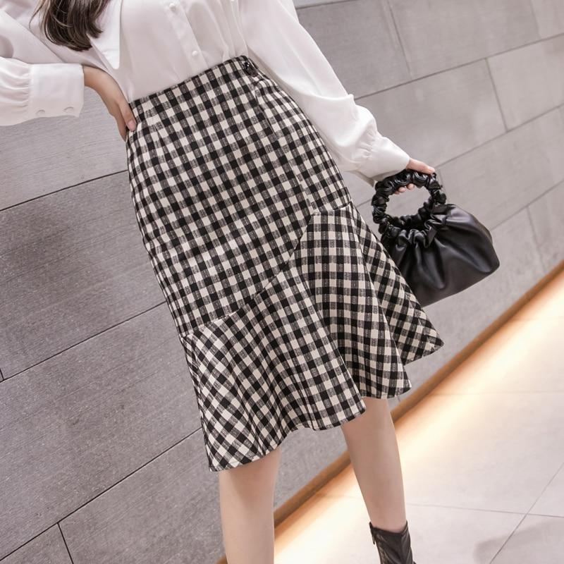 New Arrival 2020 Autumn Winter Women Midi Skirt Korean Fashion Slim High Waist Mermaid Elegant Plaids Vintage