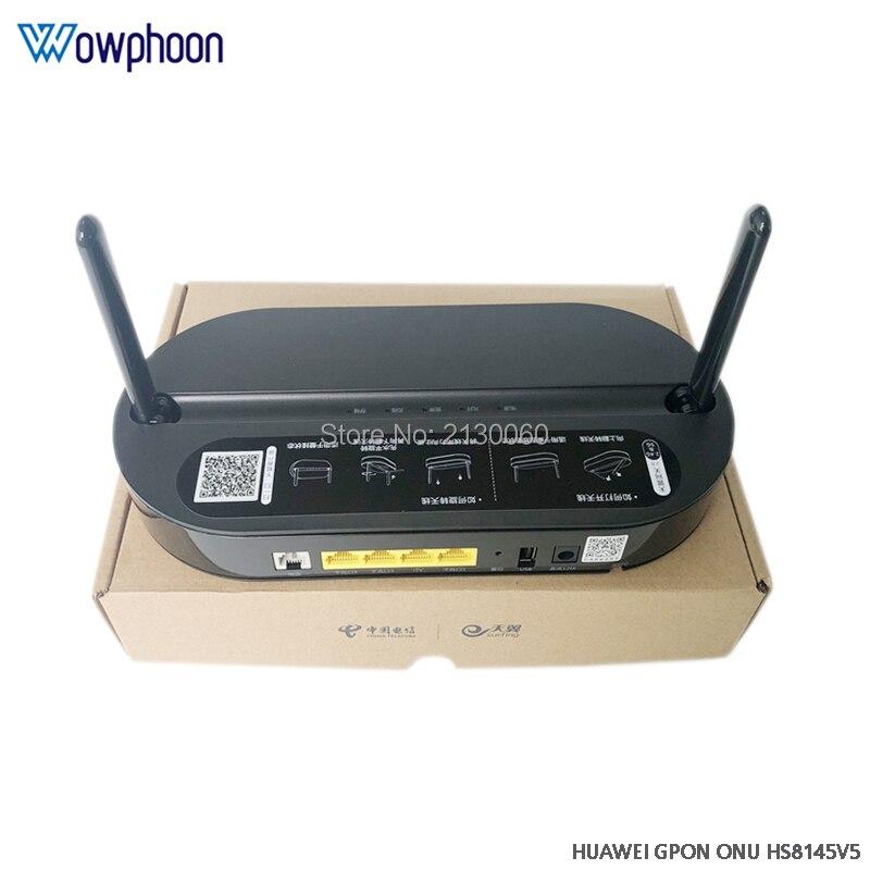 Huawei hs8145v5 gpon onu ont 4ge + pots + 2.4g & 5g wifi fibra óptica modem banda dupla terminal de rede óptica