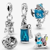 new original 100 925 sterling silver allices in wonderlanded charm pendant fit jewelry bracelet bead women birthday gift making
