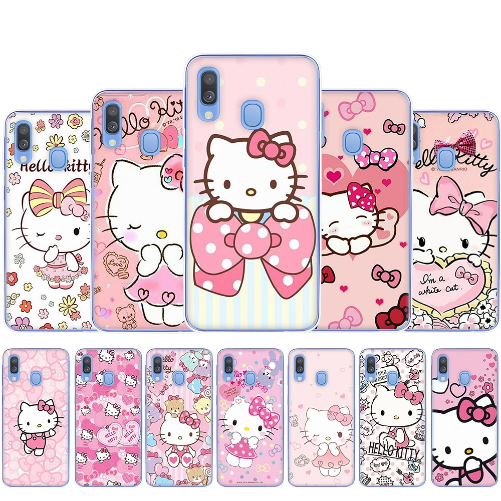 Linda rosa Olá Kitty Hard Case Plástico Telefone para Samsung Galaxy A3 A5 2017 A6 A7 A8 A9 2018 A10 30 40 50 70