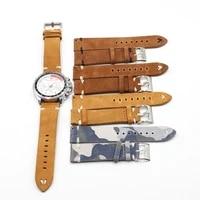 retro camouflage suede leather watch band strap 18mm 20mm 22mm 24mm for men women watch belt accessories wrist watch bracelet