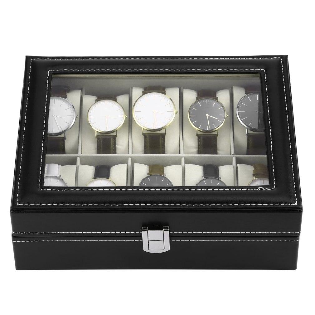 10 ranuras de cuero de la PU Caja para exhibir joyería relojes de pulsera de almacenamiento Caja de reloj negro Caja de reloj