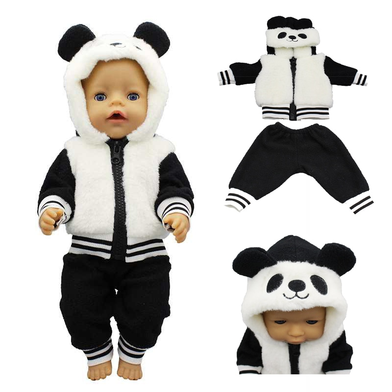 clothes for baby born dolls winter fur cloak coat windbreaker clothes for 18 inch doll outwear sets girl christmas dress For 43cm Baby Doll Clothes Fur Panda Coat for 18 Inch Girl Doll Leather Jacket Winter Outfit