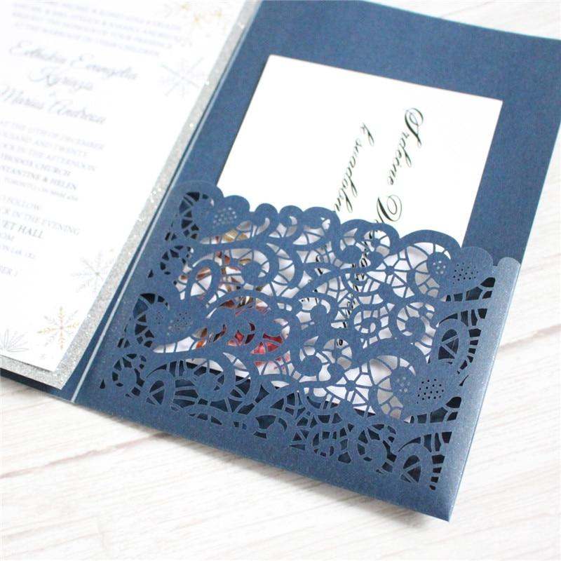Personalized invitation card with glitter silver border tri-fold pocket invite wedding event party supply