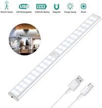 Under Motion Sensor Cabinet Lights 30CM 40LED USB Rechargeable Closet Light 2.8W Intelligent Kitchen Cupboard Magnetic Strip