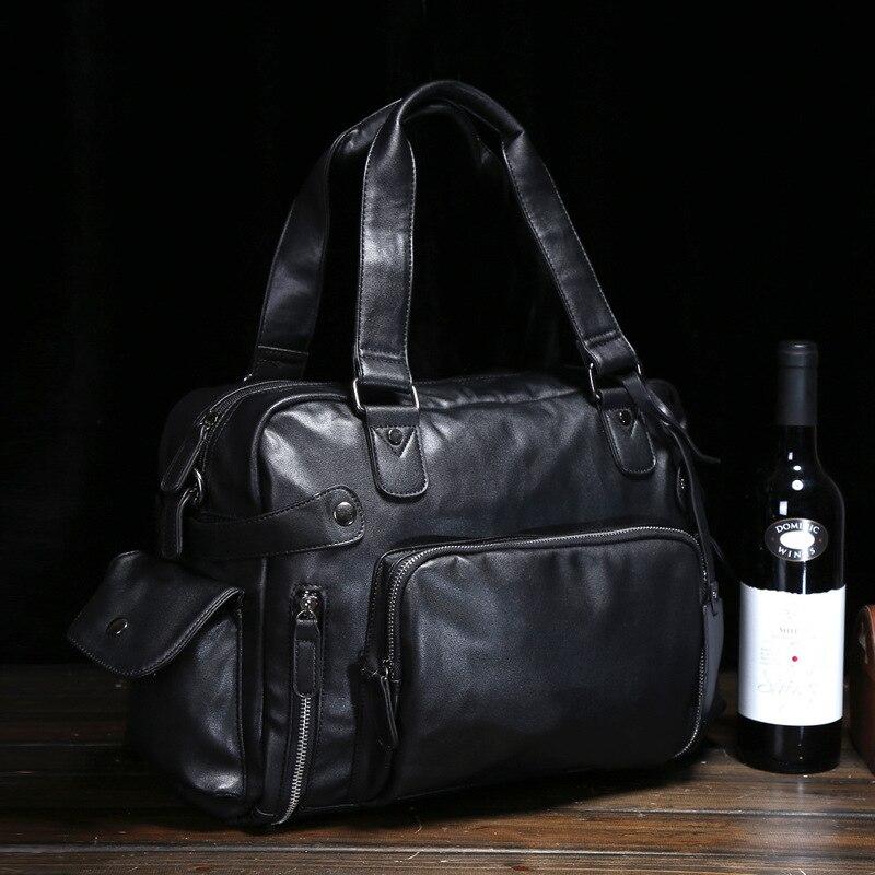 Leather Bag Men 2020 New Shoulder Bag PU Leather Trend Men's Casual Messenger Bag Travel Bag Retro Student Men's Bag  Handbags