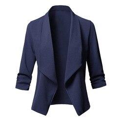 3 / 4 manga blaser feminino jaqueta feminina rosa azul branco preto blazer femme outono plus size 5xl