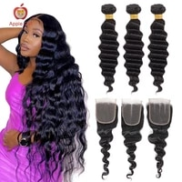 malaysian loose deep wave bundles with closure transparent lace closure with bundles applegirl remy human hair 30 inch