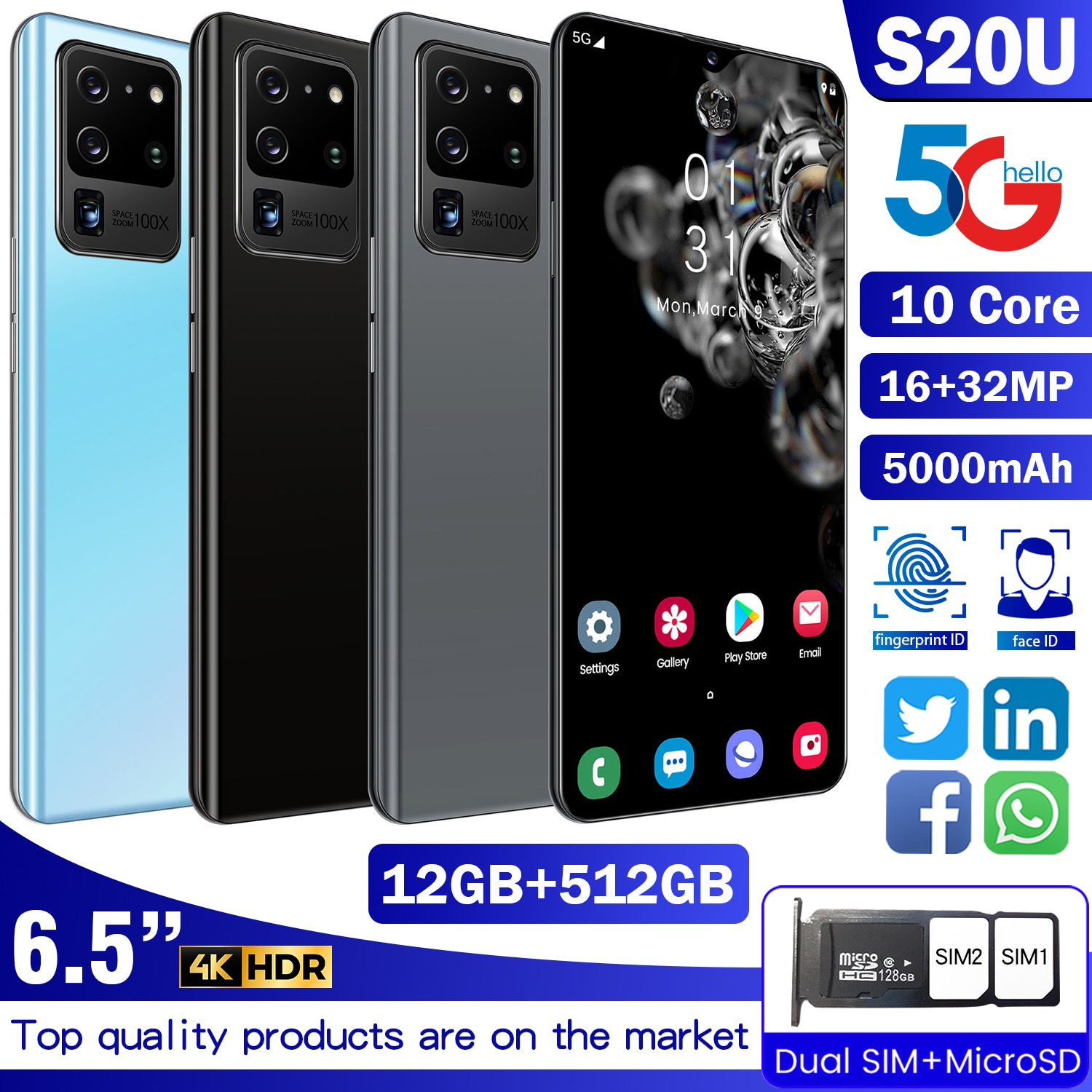 2021 Newest S20U 5G LTE Android Cellphone MTK6889 10-Core Processor 12GB+512GB Smartphone 6.7 inch 4800mAh Battery Mobile Phone