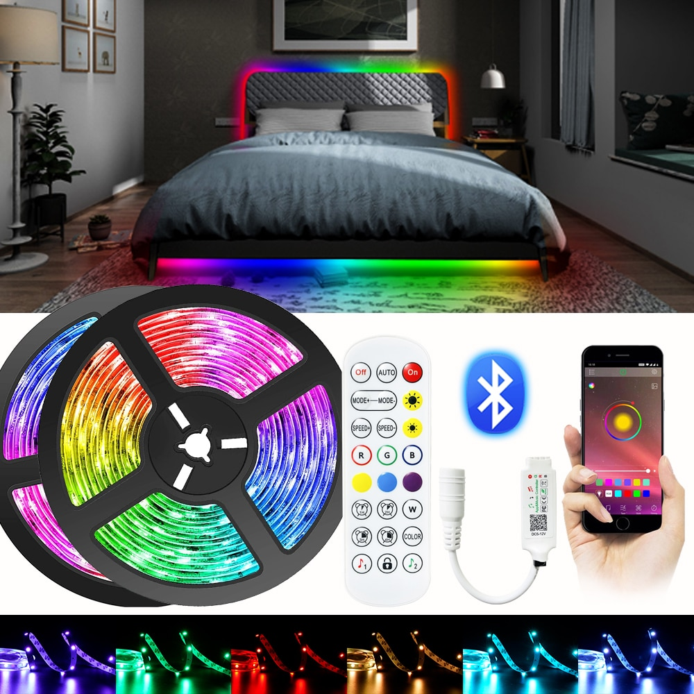 LED Light Strip Bluetooth RGB 5050/2835 SMD Flexible Ribbon DC 12V Luces LED For TV Computer Bedroom Decoration BackLight Lamp