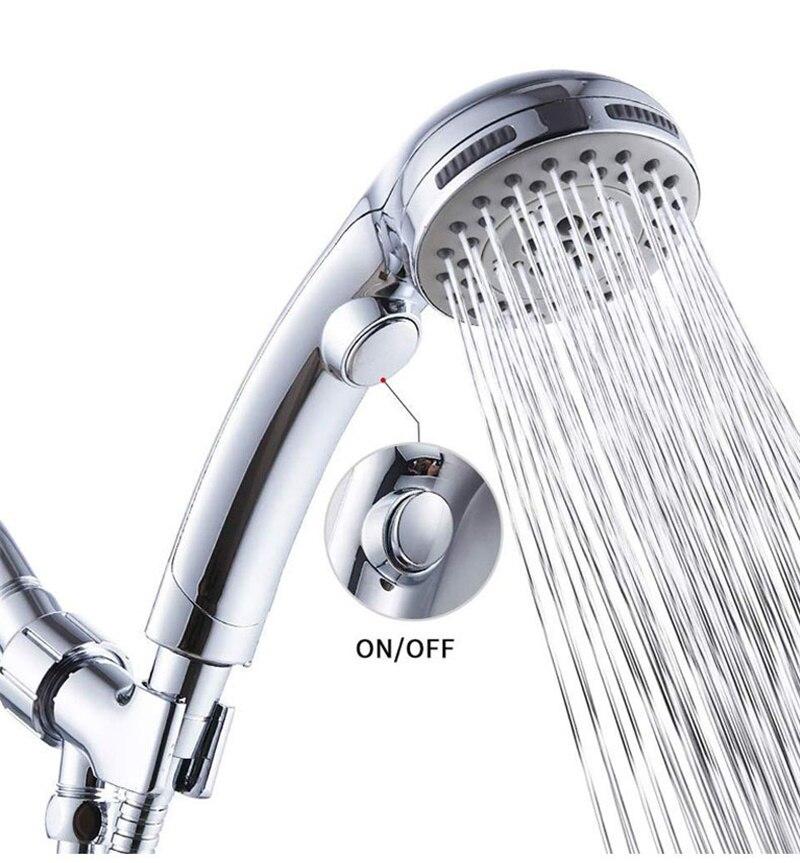 Cabezal de ducha multifuncional ajustable 5 cabezal de ducha funcional de alta presión cabezal de ducha de chorro de lluvia cromado