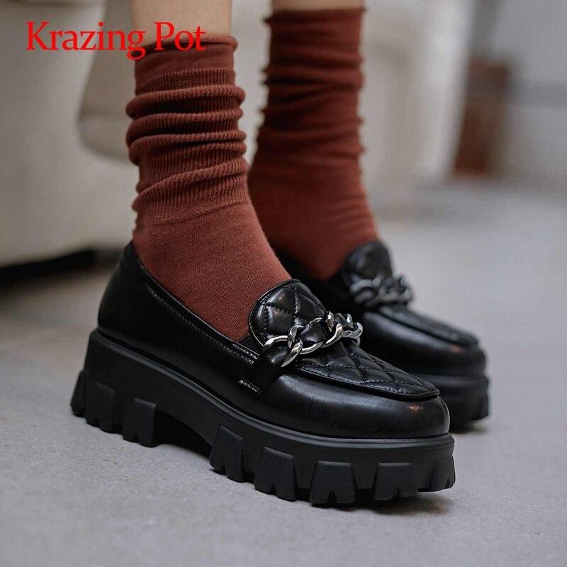 Krazen pot-حذاء نسائي بكعب عالٍ من جلد الغنم ، حذاء نسائي بكعب عالٍ ومقدمة دائرية ، L9f3