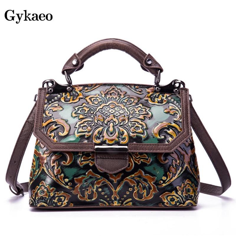 Gykaeo-حقائب يد جلدية أصلية للنساء ، حقائب يد فاخرة ، نمط ريترو ، حقيبة حمل صغيرة ، حقيبة كتف