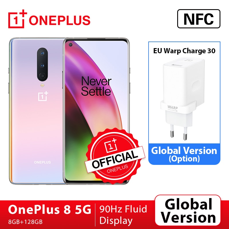 Global Version OnePlus 8 5G Smartphone 8GB 128GB Snapdragon 865 6.55'' 90Hz Fluid Display 48MP Triple OnePlus Official Store NFC