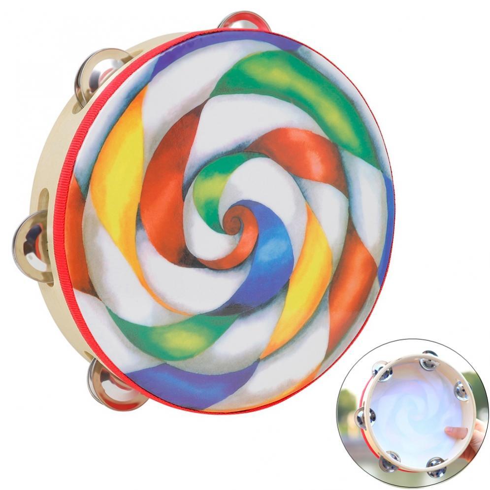 8 Inch Colorful Lollipop Tambourine Drum Round Percussion PVC Hand Drum for Children Instrument Accessories недорого