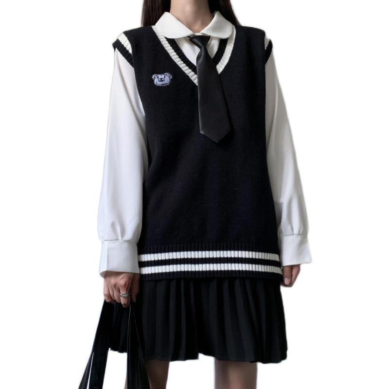 Black JK Sweater Coats White line V Neck Navy Sailor Suit Japanese School Uniform Sweater Vintage Coat For JK dress