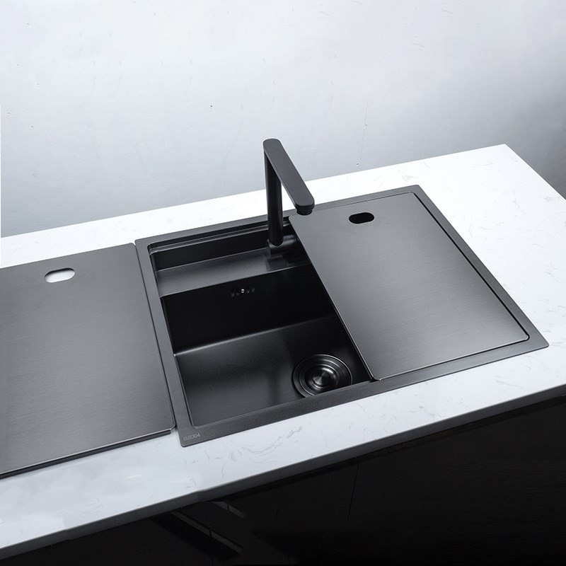 sink or swim pубашка Stainless Steel Kitchen Sink with Folded Faucet Hidden Kitchen Basin Double Bowl Black Sink Nano Above Counter or Undermount