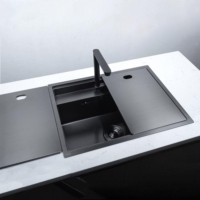 حوض مطبخ من الفولاذ المقاوم للصدأ مع صنبور مطوي مخفي ، حوض مزدوج ، نانو أسود فوق العداد أو تحت السطح