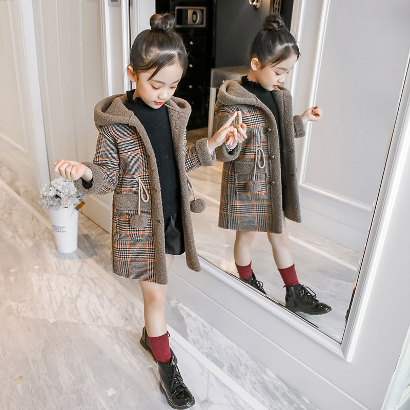 Autumn Winter Girls Hairy Coat Fashion Design Long Coat for Girls Kids Outerwear Grid Pattern Warm Winter Jacket Coats 4-12T 2020 autumn winter waterproof windbreaker girls jacket for child hooded star polar fleece girls outerwear coat 3 12t kids jacket