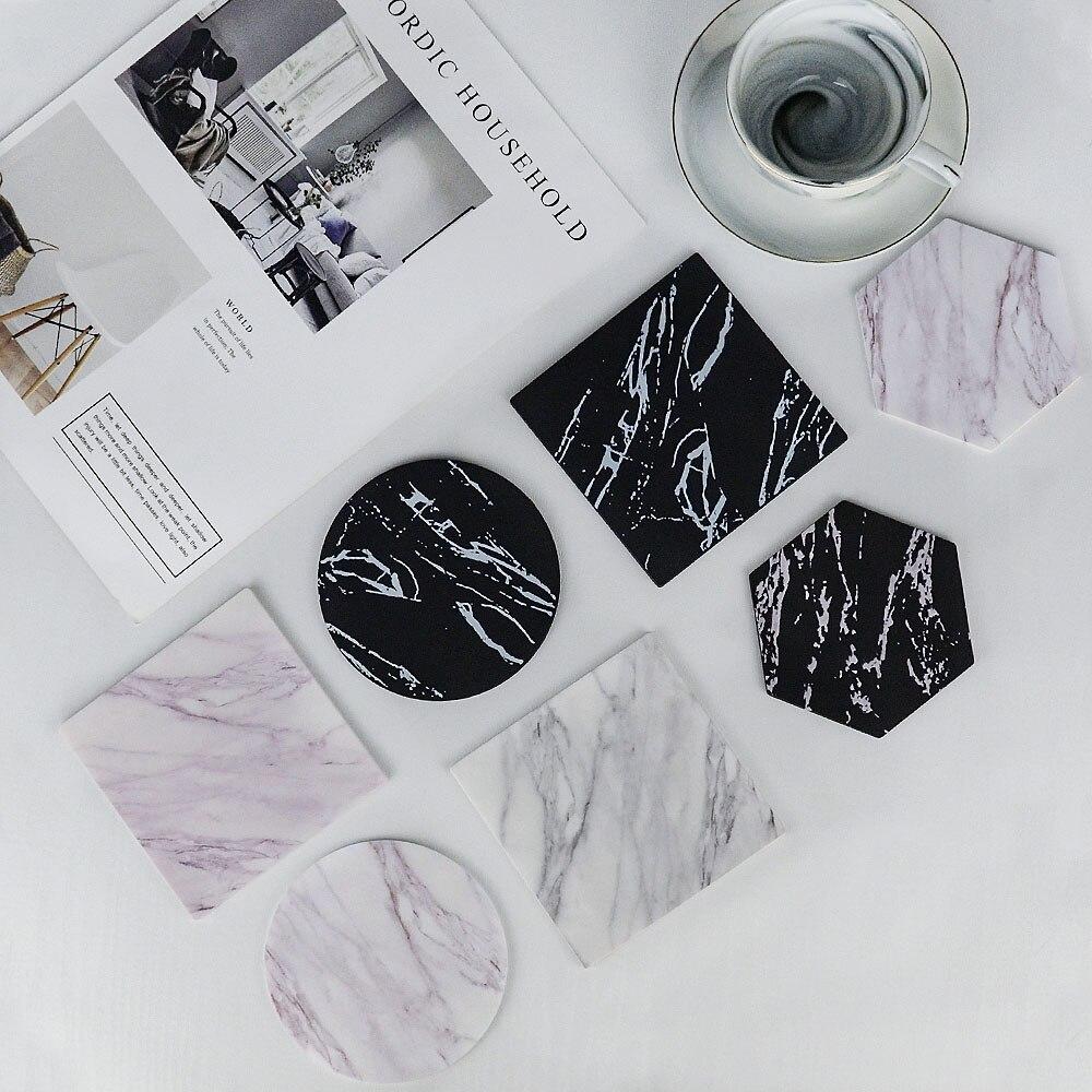 Шикарная креативная силиконовая подставка, имитация мрамора, коврик для кофейной чашки, черный, белый, мягкий, водонепроницаемый, для рабочего стола, нескользящая подкладка, украшение стола