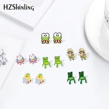 Boucles doreilles de chaises Froggy dessin animé, style Dinks, époxy, résine grenouille, 2020