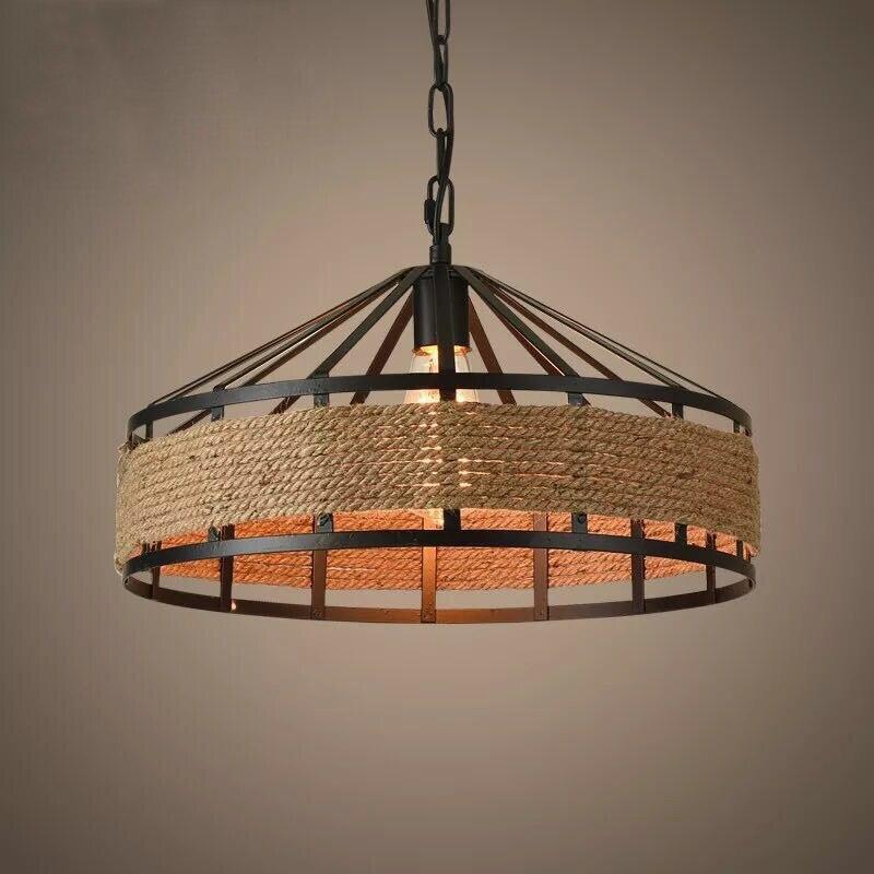 Loft rope vintage pendant light kitchen dining room fixtures suspension cafe restaurant bar hanging lamp industrial chandelier