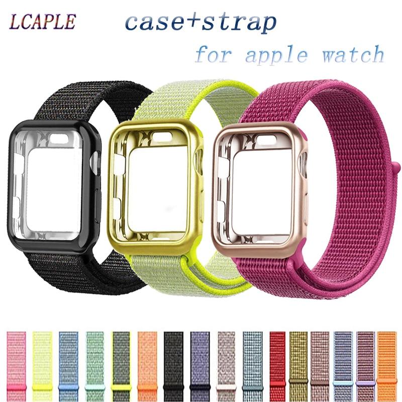 Caso + alça de náilon para apple relógio banda 44 mm 40mm iwatch banda 42mm 38mm capa protetora + pulseira correa apple watch 5 3 4 2