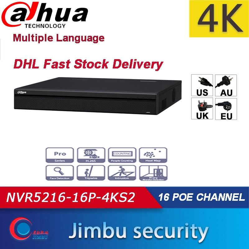 Dahua POE NVR 16 Kanal 1U 16 PoE port 4K video recorder H.265 Pro NVR NVR5216-16P-4KS2 Bis zu 12Mp auflösung 3D intelligente