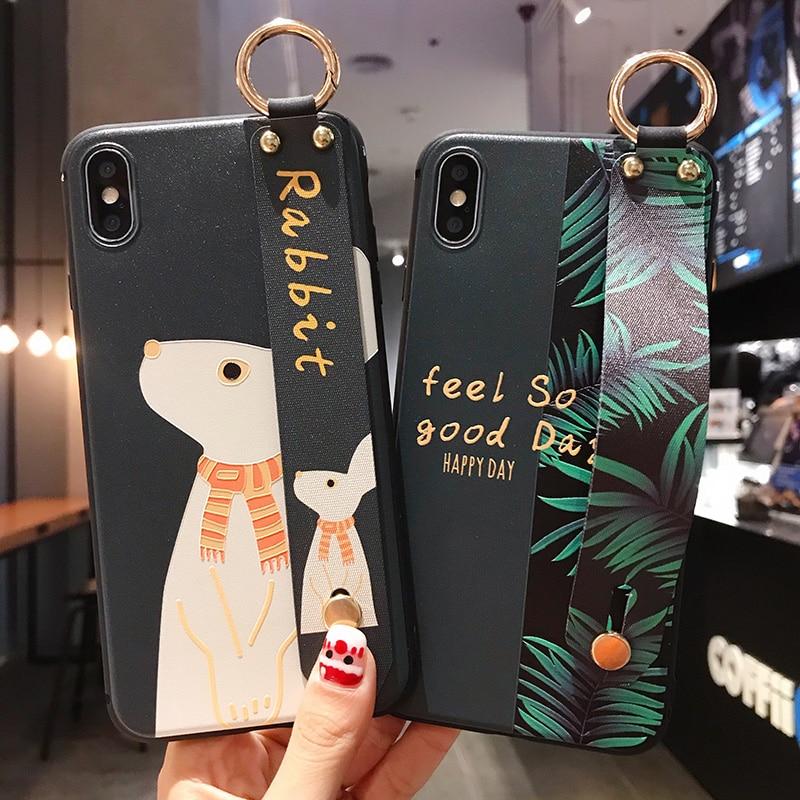 Wrist Strap Soft Case For Xiaomi Mi 5X 6X 8 9 9T CC9 A3 Lite A1 A2 Redmi Note 5 6 7 8 K20 Pro 4X Cases Ring Holder Cover Coque