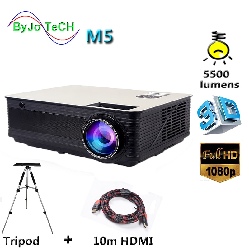 جهاز عرض LED Poner Saund M5 ، 5500 لومن ، Full HD ، 1080P ، مكبرات صوت HIFI مزدوجة مع حامل ثلاثي القوائم HDMI 10m ، LCD ، 3D ، Vs led96