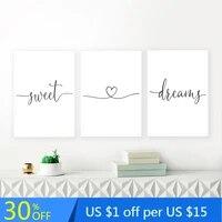 Noir et blanc doux reves citations toile peinture coeur amour affiches impressions minimalistes pepiniere mur photos pour la decoration interieure