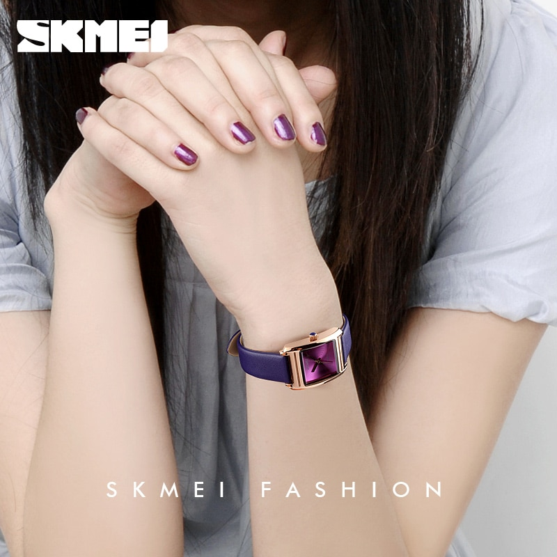 SKMEI Watch For Women Top Brand Luxury Genuine Leather Fashion Ladies Watches Quartz Wrist Watch Reloj Mujer Montre Femme enlarge