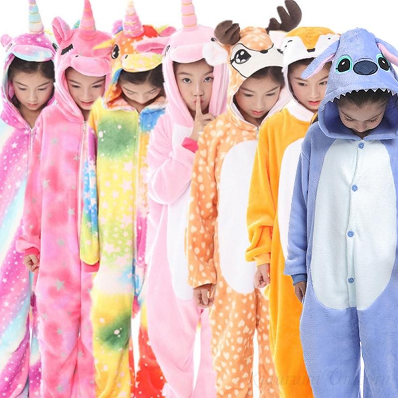 Pijama de unicornio Kigurumi para niños, pijamas para niñas, ropa de dormir para niños, pijama de gato de puntada de Animal, mono, traje para niños jumsu