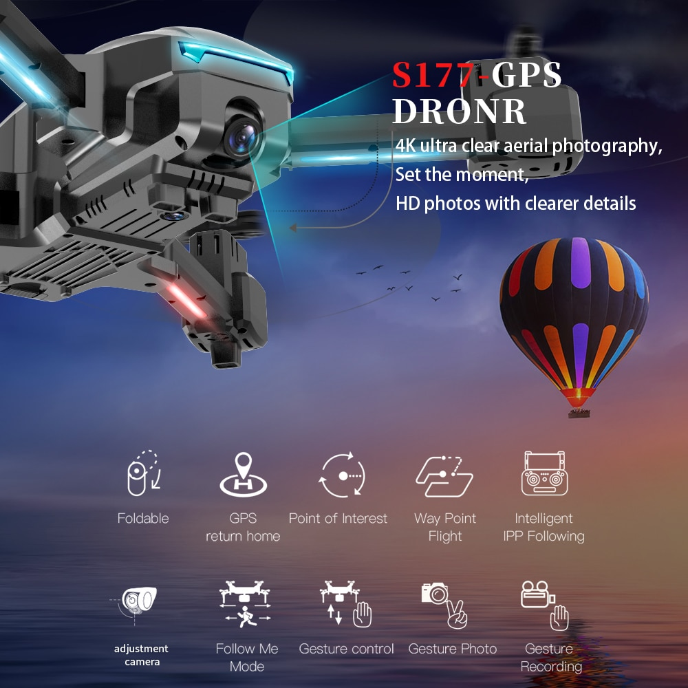 NYR 2021 New S177 Drone GPS 5G WIFI  4k HD Wide Angle Dual Camera Fvp Drones Rc Distance 600m Quadcopter Height Flight Dron Toys enlarge