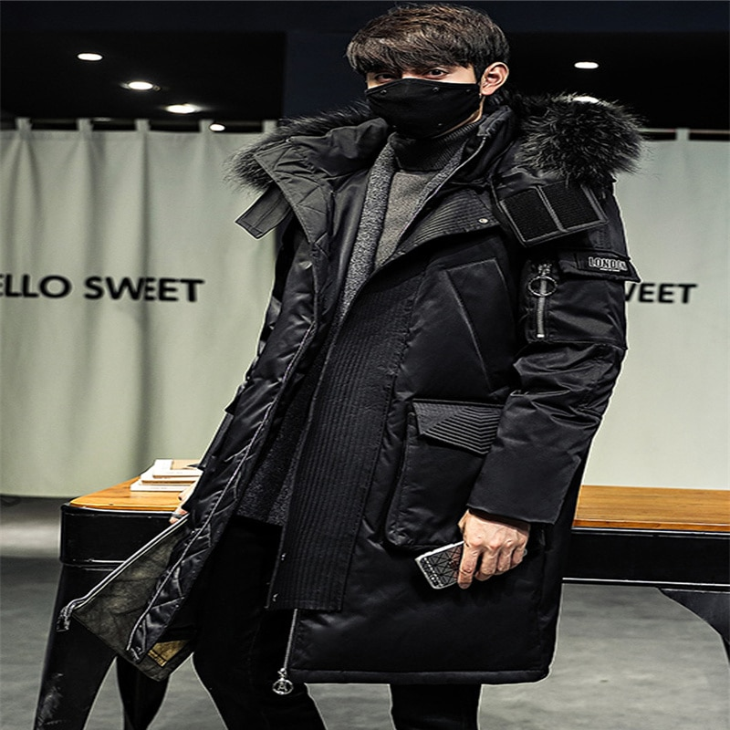 2021 new winter youth thickened knee down jacket men's mid-length trendy handsome fur collar big goose men's parka jacket