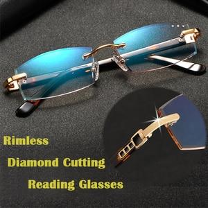Fashion Rimless Reading Glasses Women Luxury Gradient Tinted Diamond Cutting Presbyopic Glasses Clear Anti Blue Ray Eyeglasses
