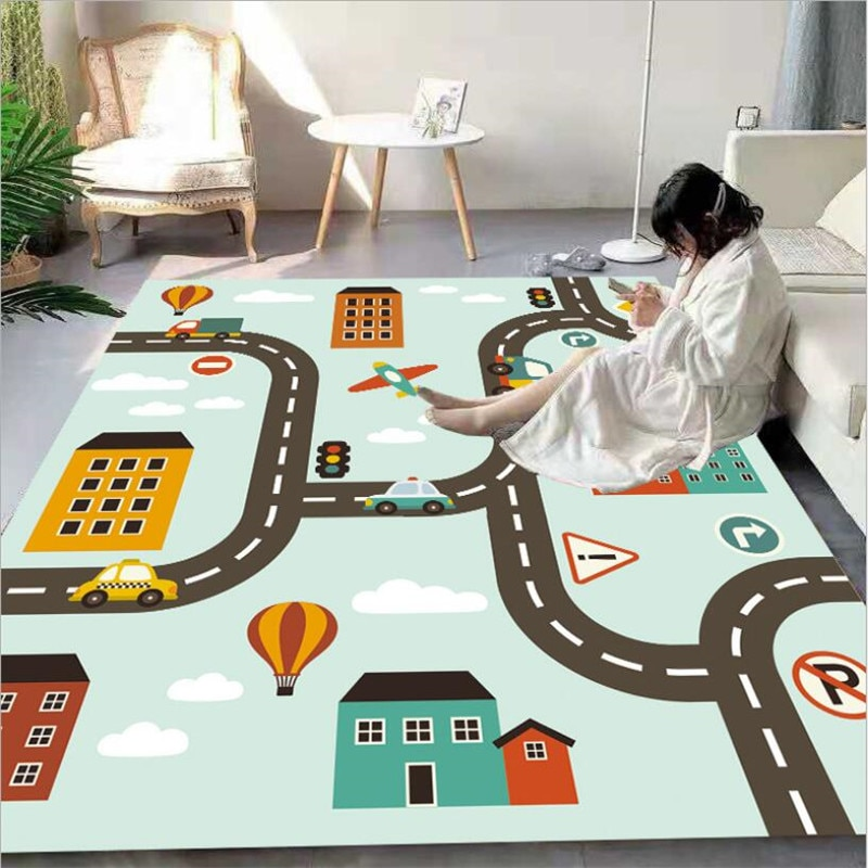 christmas baubles printed skid resistant rug City Streets Carpet 3D Printed Carpet Square Anti-Skid Area Floor Mat Rug Non-slip Mat Dining Room Living Soft Carpet 05