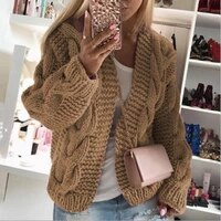 winter warm solid color cardigan long sleeve womens winter thick line sweater cardigan soft hand knitted womens cardigan