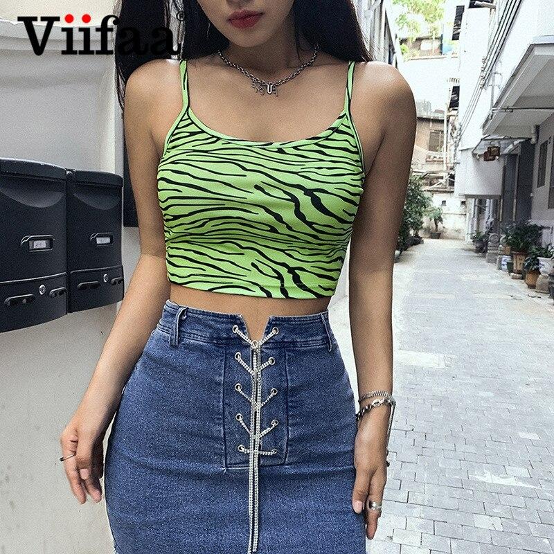 Viifaa Green with Zebra Skin Print Summer Crop Cami Top 2020 Women Spaghetti Strap Stretchy Skinny Streetwear Party Tops