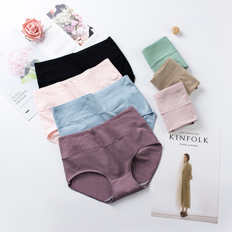 Cotton Women's Underwear Panties High Waist Briefs Solid Color Breathable Underpants Seamless Soft L