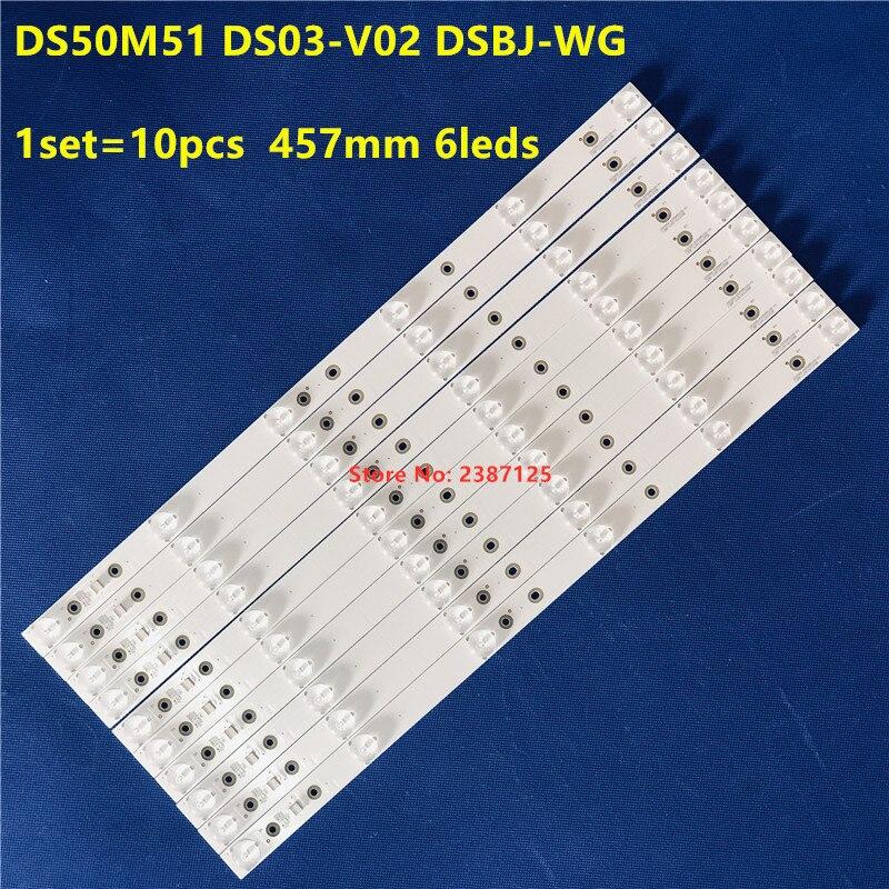 1 مجموعة-10 قطعة LED الخلفية شريط مصابيح 6 المصابيح ل 50