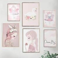 swan dancing girl poster cute simple cartoon pink wall art decoration for nursery baby girl room