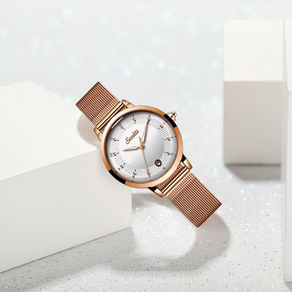 SUNKTA 2021Listing Rose Gold Women Watches Quartz Watch Ladies Top Brand Luxury Female Watch Girl Clock Relogio Feminino+Box enlarge
