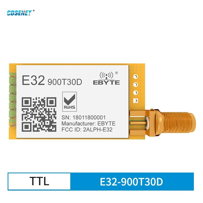 SX1276 LoRa Wireless Serial Port Module RF UART 868MHz 915MHz 30dBm 8km Long Range SMA-K CDSENET E32-900T30D TTL DIP Tranceiver